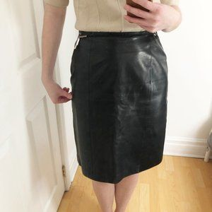 Authentic Prada Milano Black Leather Belted Skirt
